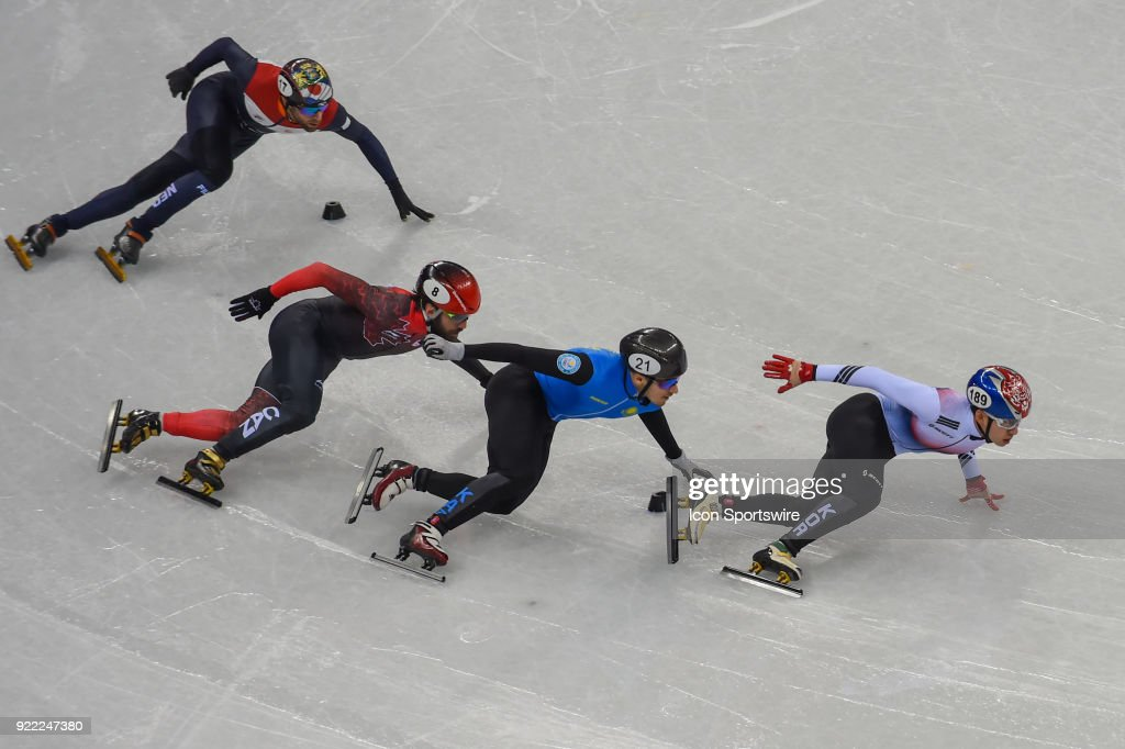 Hyojun Lim (JPN) leads the pack into the final turn to win the Men's 500M Heat 4 race during the 2018 Winter Olympic Games at the Gangneung Ice Arena on February 20, 2018 in PyeongChang, South Korea.