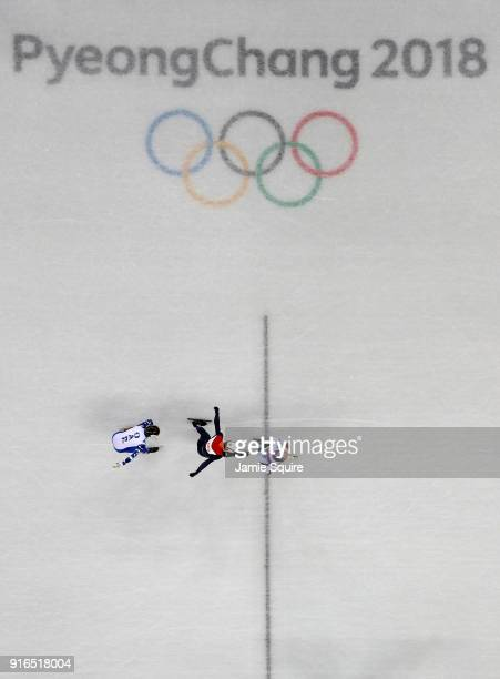 Hyojun Lim of Korea beats Sjinkie Knegt of the Netherlands and Semen Elistratov of Olympic Athlete from Russia for the gold medal during the Men's...