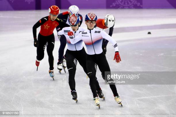 Hyojun Lim of Korea celebrates during the Men's 1500m Short Track Speed Skating semifinals on day one of the PyeongChang 2018 Winter Olympic Games at...