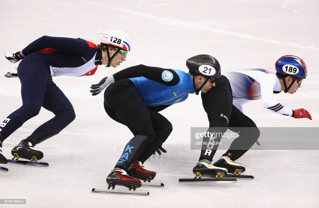 Hyojun Lim of Korea, Denis Nikisha of Kazakhstan and Sebastien Lepape of France compete during the Men's 1500m Short Track Speed Skating qualifying on day one of the PyeongChang 2018 Winter Olympic Games at Gangneung Ice Arena on February 10, 2018 in Gangneung, South Korea.