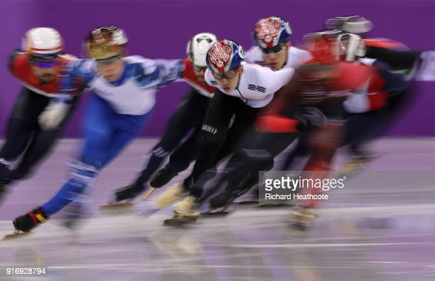 Hyojun Lim of Korea in action on his way to victory during the Men's 1500m Short Track Speed Skating final on day one of the PyeongChang 2018 Winter...