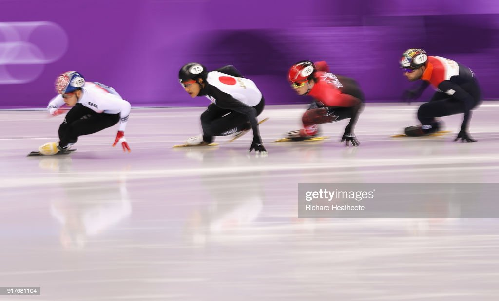 Hyojun Lim of Korea, Kazuki Yoshinaga of Japan, Charle Cournoyer of Canada, and Daan Breeuwsma of the Netherlands compete during the Men's 1000m Short Track Speed Skating qualifying on day four of the PyeongChang 2018 Winter Olympic Games at Gangneung Ice Arena on February 13, 2018 in Gangneung, South Korea.