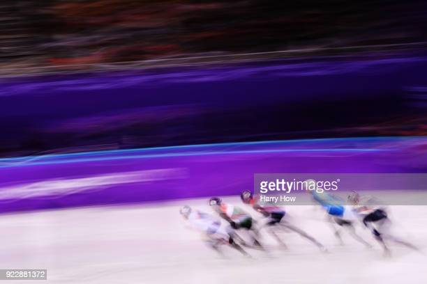 Hyojun Lim of Korea leads in his Men's 500m Short Track Speed Skating Quarter Final on day thirteen of the PyeongChang 2018 Winter Olympic Games at...