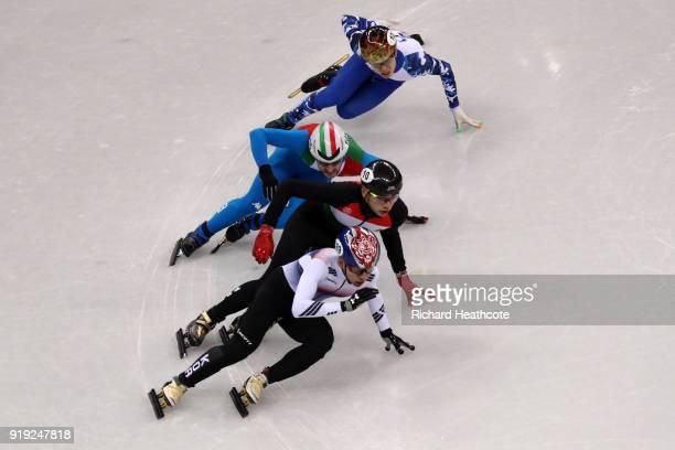 Hyojun Lim of Korea Shaolin Sandor Liu of Hungary Yuri Confortola of Italy and Semen Elistratov of Olympic Athlete from Russia compete during the...
