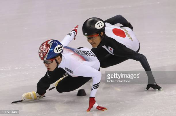 Hyojun Lim of South Korea competes during the Men's 1000m Short Track Speed Skating qualifying on day four of the PyeongChang 2018 Winter Olympic...