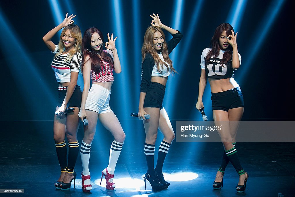 Hyolyn (Hyorin), Dasom, Bora and Soyou of South Korean girl group SISTAR perform onstage during their new album 'Touch and Move' showcase at Ilchi Art Hall on July 21, 2014 in Seoul, South Korea.