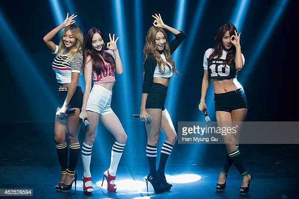 Hyolyn , Dasom, Bora and Soyou of South Korean girl group SISTAR perform onstage during their new album 'Touch and Move' showcase at Ilchi Art Hall...