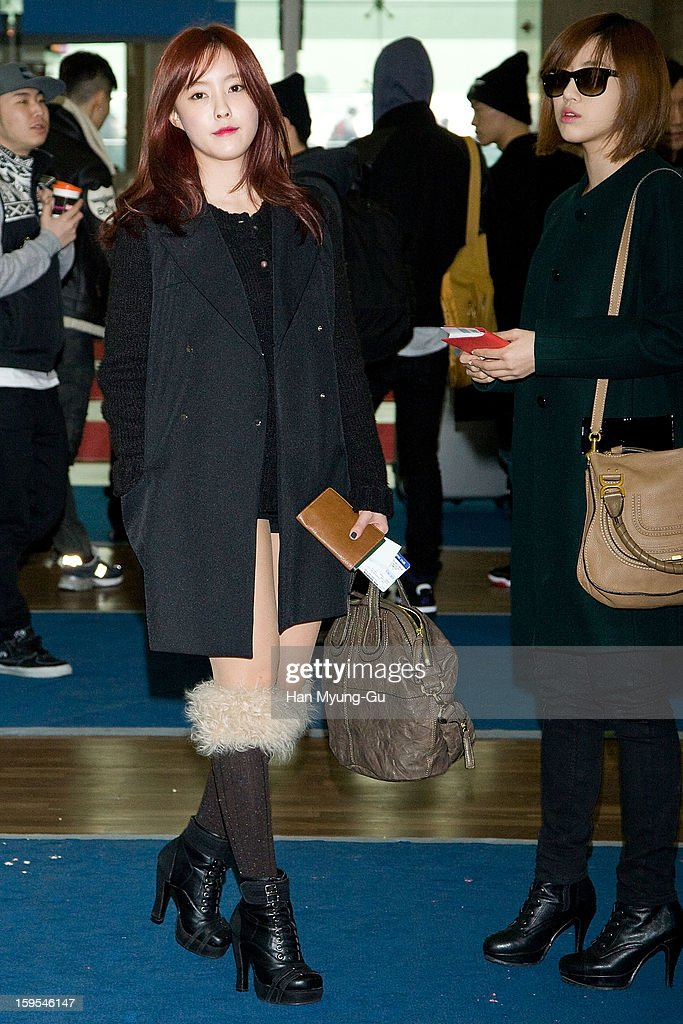 Hyomin (Hyo-Min) and Eunjung (Eun-Jung) of South Korean girl group T-ara is seen at Incheon International Airport on January 15, 2013 in Incheon, South Korea.