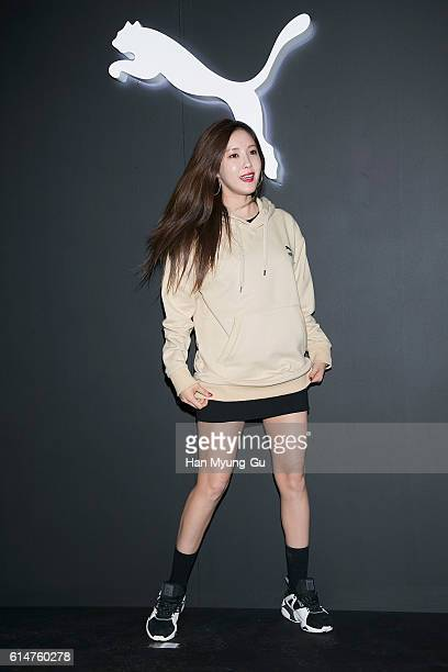 Hyomin of South Korean girl group Tara attends the photocall for PUMA BOG SOCK Launch on October 14 2016 in Seoul South Korea
