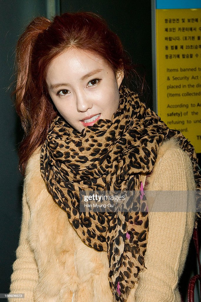 Hyo-Min (Hyomin) of South Korean girl group T-ara is sighted at Incheon International Airport on November 25, 2012 in Incheon, South Korea.
