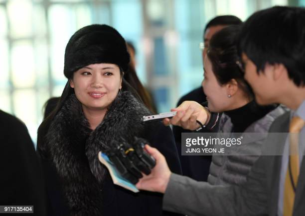 Hyon Song Wol a leader of North Korea's Samjiyon Orchestra arrives at the interKorea transit office in Paju near the Demilitarized Zone dividing the...