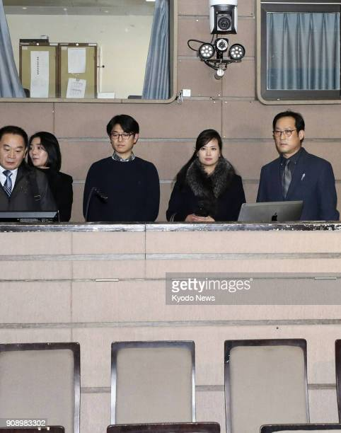 Hyon Song Wol head of North Korea's Samjiyon Orchestra visits the National Theater of Korea in Seoul on Jan 22 during her stay in South Korea to...