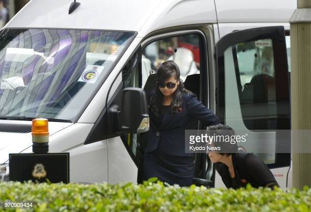 Hyon Song Wol head of the North Korean Samjiyon art troupe arrives at the St Regis hotel in Singapore on June 10 2018 ==Kyodo