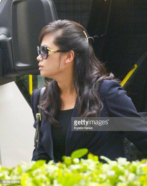 Hyon Song Wol head of the North Korean Samjiyon art troupe arrives at a hotel in Singapore on June 10 2018 ==Kyodo
