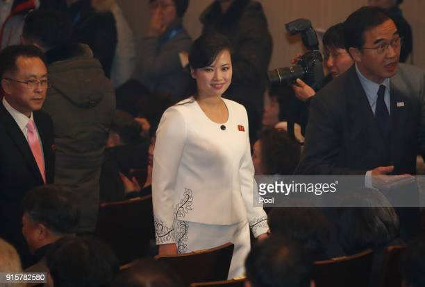 Hyon Song Wol head of the North Korea's Samjiyon Orchestra arrives at the Gangneung Art Centre prior to the performance by Samjiyon Orchestra on...