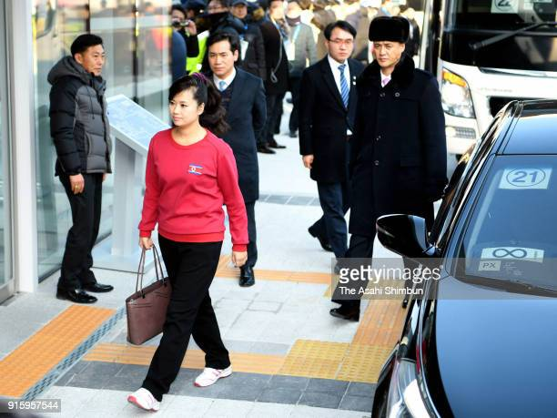 Hyon Song Wol head of the North Korea's Samjiyon Orchestra arrives prior to a performance by North Korea's Samjiyon art troupe at Gangneung Art...