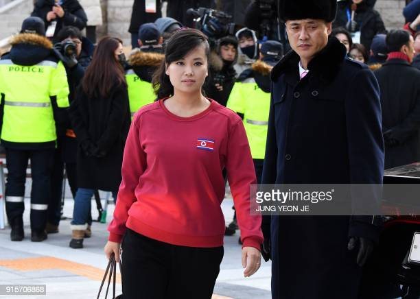 Hyon SongWol a leader of North Korea's Samjiyon Orchestra arrives at the Gangneung Art Centre in Gangneung the host city of the ice venues for the...