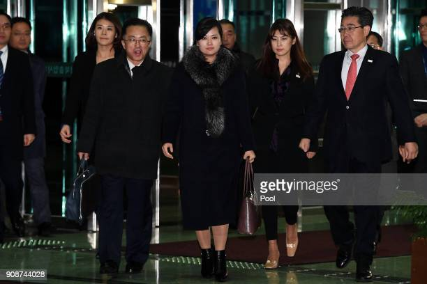 Hyon Songwol head of the North Korea's Samjiyon Orchestra arrives at the customs immigration and quarantine office for departure to North Korea after...