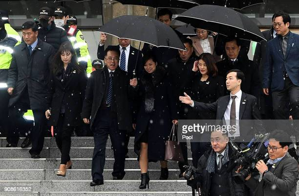 Hyon Songwol head of the North Korea's Samjiyon Orchestra leaves after she inspected the Korea National Theater for art performances at Pyeongchang...
