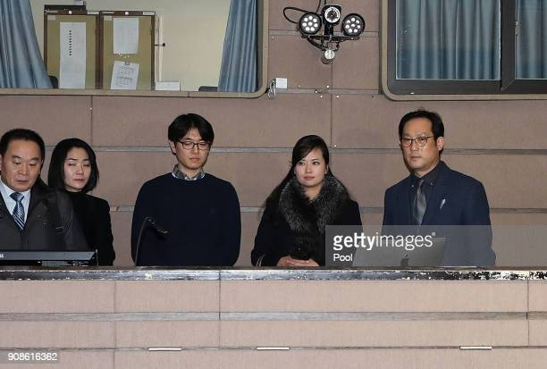 Hyon Songwol head of the North Korea's Samjiyon Orchestra talks with a South Korean official during a venue inspection by the Korea National Theater...