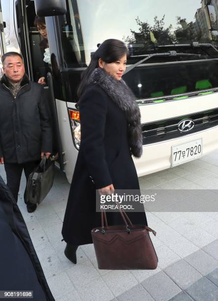 Hyon SongWol leader of North Korea's popular Moranbong band arrives at the Gangneung Arts Center where one of the planned musical concerts is due to...