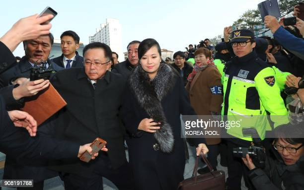 TOPSHOT Hyon SongWol leader of North Korea's popular Moranbong band arrives at the Gangneung Arts Center where one of the planned musical concerts is...