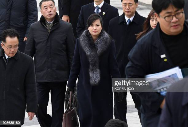 Hyon SongWol leader of North Korea's popular Moranbong band arrives at the Korea National Theater to inspect venues for planned musical concerts...