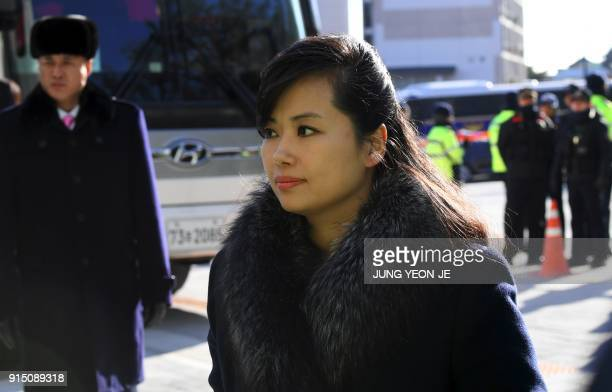 Hyon SongWol leader of North Korea's Samjiyon Orchestra arrives at the Gangneung Art Centre in Gangneung the host city of the ice venues for the...