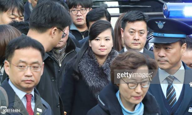 Hyon SongWol the leader of North Korea's popular Moranbong band arrives at Seoul station in Seoul on January 21 2018 before boarding a train bound...