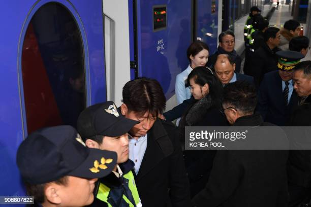Hyon SongWol the leader of North Korea's popular Moranbong band boards a train to Seoul at Gangneung station in the eastern city of Gangneung on...