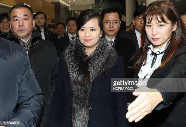 TOPSHOT Hyon SongWol the leader of North Korea's popular Moranbong band leaves after visiting the Gangneung Arts Center where one of the planned...