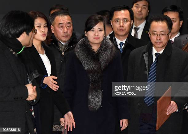 Hyon SongWol the leader of North Korea's popular Moranbong band leaves after visiting the Gangneung Arts Center where one of the planned musical...
