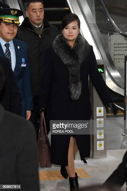 Hyon SongWol the leader of North Korea's popular Moranbong band arrives to board a train to Seoul at Gangneung station in the eastern city of...