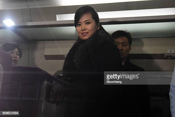 Hyon Song Wol a North Korean pop star party member and head of an advance team for North Koreas art troupe boards a train at Gangneung station in...