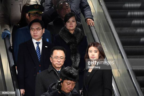 HyonSongWol a North Korean pop star party member and head of an advance team for North Koreas art troupe center arrives at Gangneung station in...