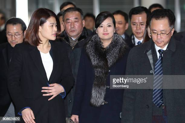 HyonSongWol a North Korean pop star party member and head of an advance team for North Koreas art troupe center arrives at the Gangneung Arts...