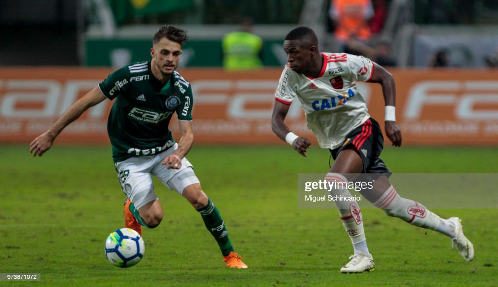 Hyoran (L) of Palmeiras vies the ball with Vinicius Jr of Flamengo during a match between Palmeiras and Flamengo for the Brasileirao Series A 2018 at Allianz Parque Stadium on June 13, 2018 in Sao Paulo, Brazil.