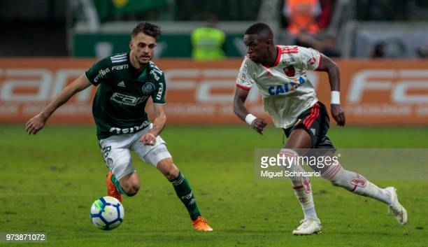 Hyoran of Palmeiras vies the ball with Vinicius Jr of Flamengo during a match between Palmeiras and Flamengo for the Brasileirao Series A 2018 at...