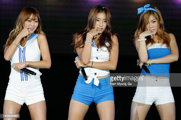 Hyorin, Bora and Soyou of South Korean girl group SISTAR perform onstage during the Samsung Galaxy SIII Stadium 'Idol Big Match' on August 7, 2012 in...