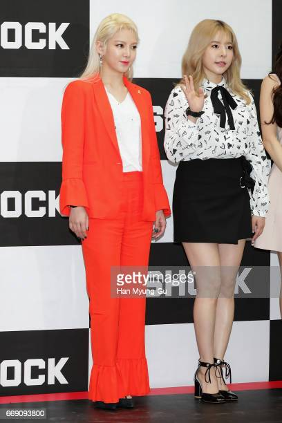 Hyoyeon and Sunny of South Korean girl group Girls' Generation attend the photocall for CASIO 'G-SHOCK' at the Starfield Hanam on April 16, 2017 in...