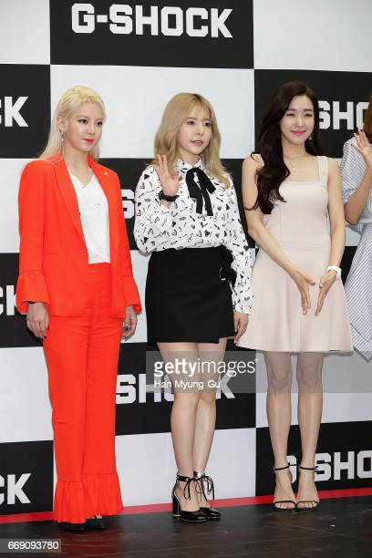Hyoyeon, Sunny and Tiffany of South Korean girl group Girls' Generation attend the photocall for CASIO 'G-SHOCK' at the Starfield Hanam on April 16,...