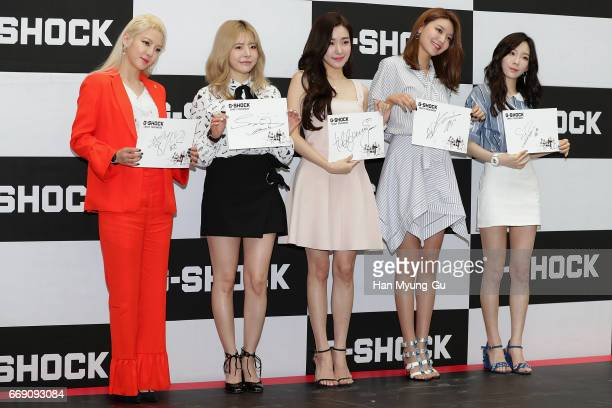 Hyoyeon, Sunny, Tiffany, Sooyoung and Taeyeon of South Korean girl group Girls' Generation attend the photocall for CASIO 'G-SHOCK' at the Starfield...