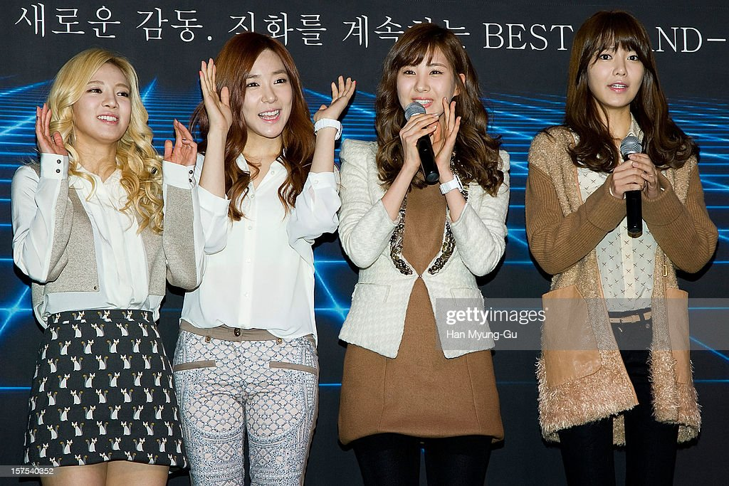 Hyoyeon, Tiffany, Seohyun and Sooyoung of Girls' Generation attend during the promotional event of 'Evolution of CASIO 2013' at Novotel Ambassador Gangnam on December 4, 2012 in Seoul, South Korea.
