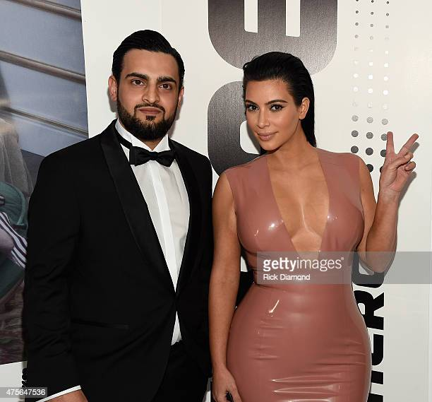 Hype Energy Drinks UAE and Afghanistan Distributor Hasib Khan and Kim Kardashian West attend the Hype Energy Drinks US Launch on June 2 2015 in...