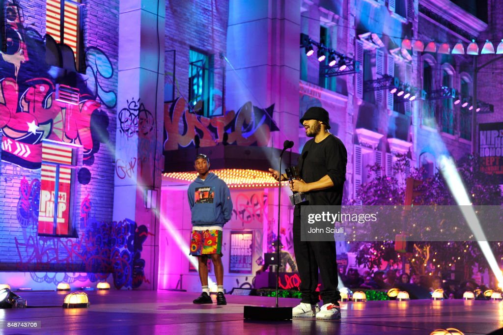 Hype Williams (R) and Pharrell Williams onstage VH1 Hip Hop Honors: The 90s Game Changers at Paramount Studios on September 17, 2017 in Los Angeles, California.