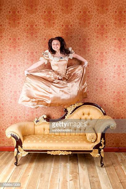 hyperactive young lady - chaise longue stock photos and pictures