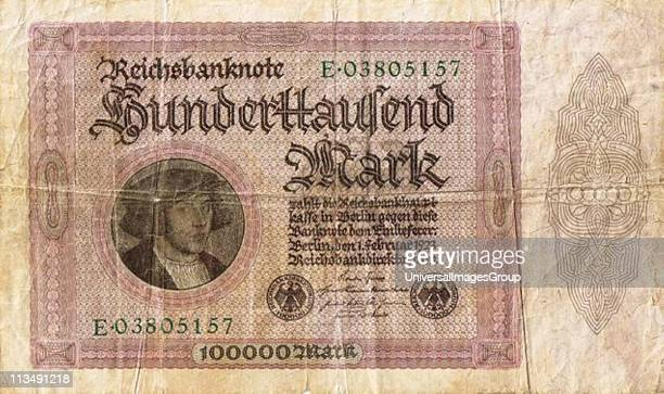 Hyperinflation in Germany after World War I Hundred thousand Reichsmark note 1923