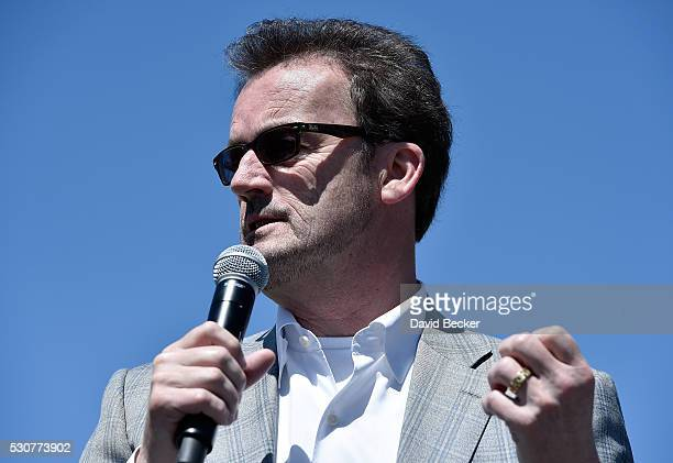 Hyperloop One CEO Rob Lloyd speaks during the first test of the propulsion system at the Hyperloop One Test and Safety site on May 11 2016 in North...