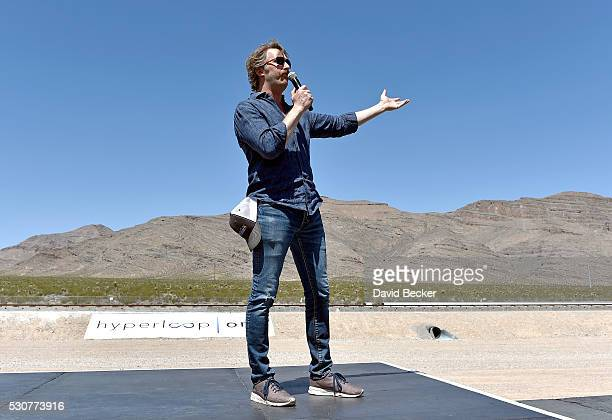 Hyperloop One CoFounder Chief Technology Officer Brogan BamBrogan speaks during the first test of the propulsion system at the Hyperloop One Test and...