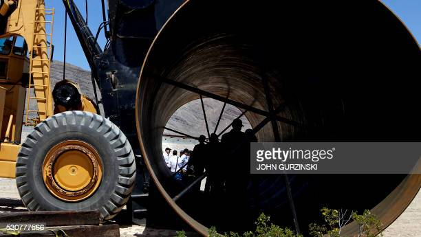 A Hyperloop tube is displayed during the first test of the propulsion system at the Hyperloop One Test and Safety site on May 11 2016 in Las Vegas...